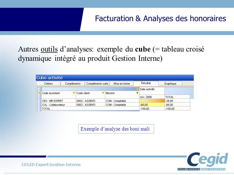 Autres outils d'analyses: exemple du cube (= tableau croisé dynamique intégré au produit Gestion Interne)