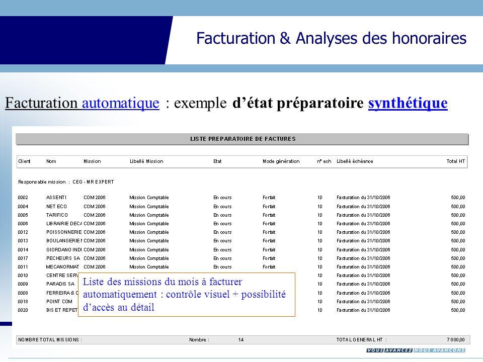 Facturation automatique : exemple d'état préparatoire synthétique
