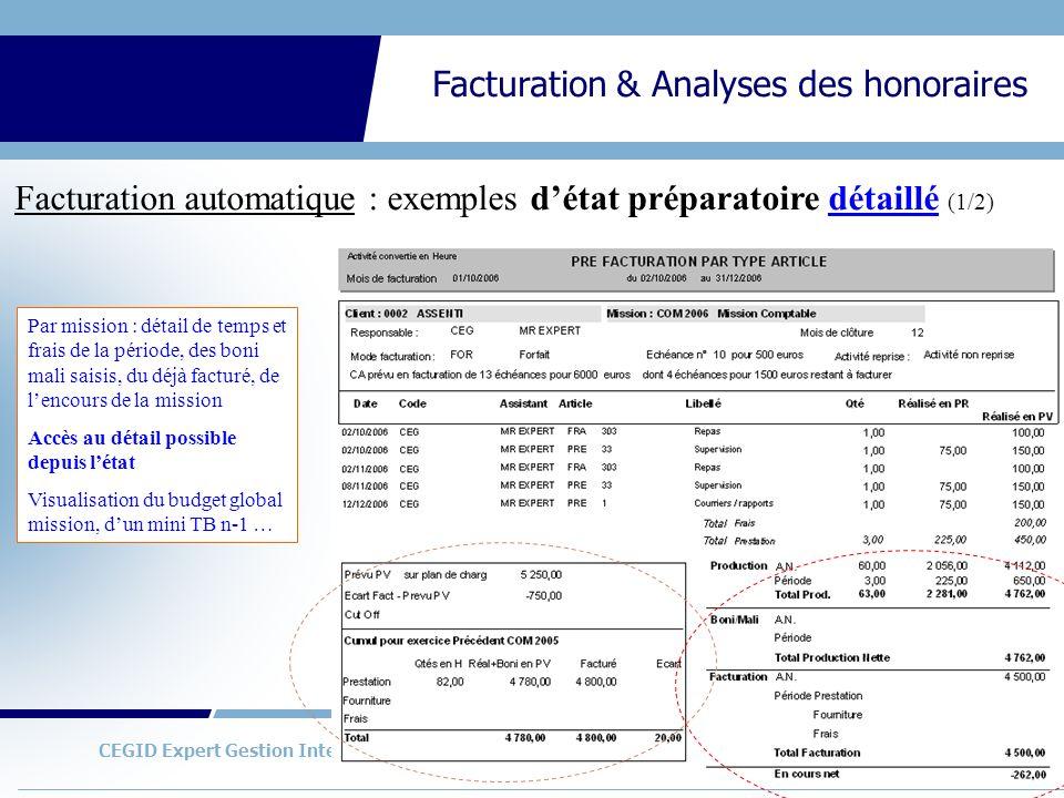 Facturation automatique : exemples d'état préparatoire détaillé (1/2)
