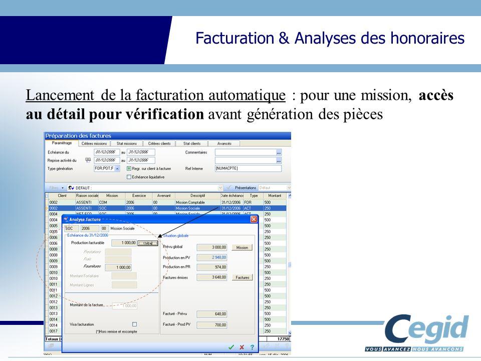 Lancement de la facturation automatique : pour une mission, accès au détail pour vérification avant génération des pièces
