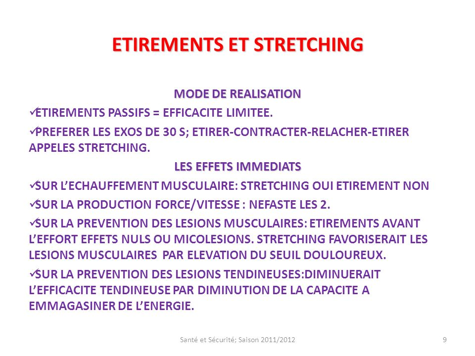 ETIREMENTS ET STRETCHING