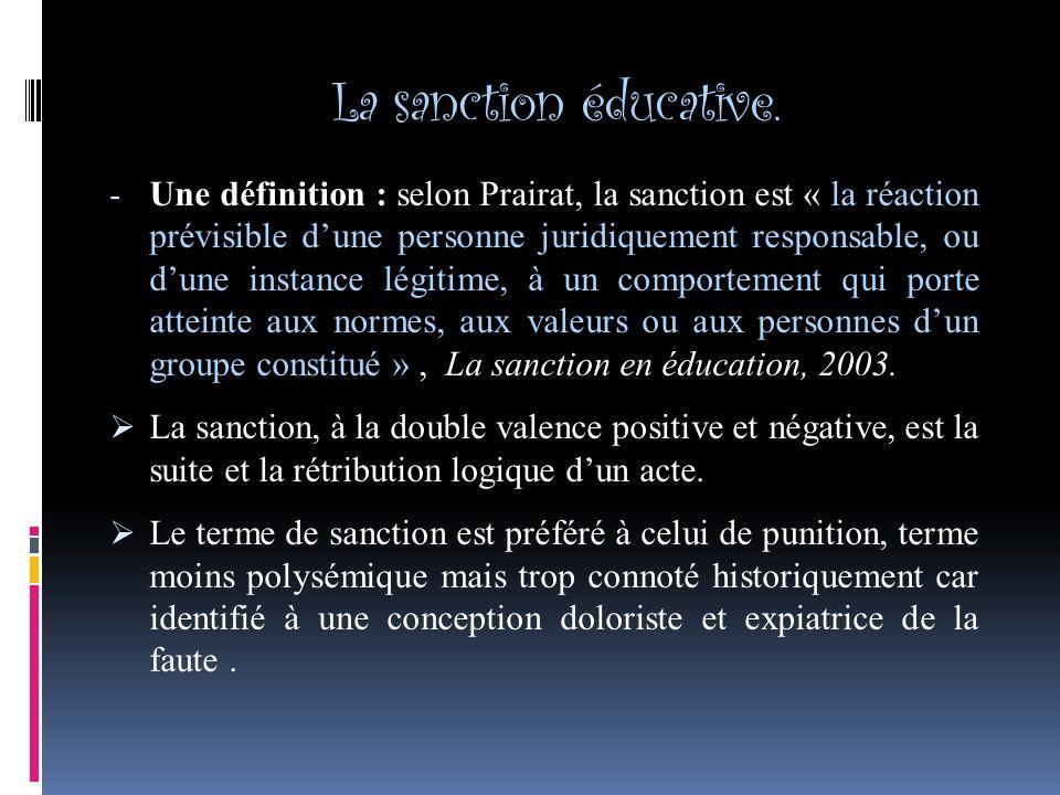 La sanction éducative.