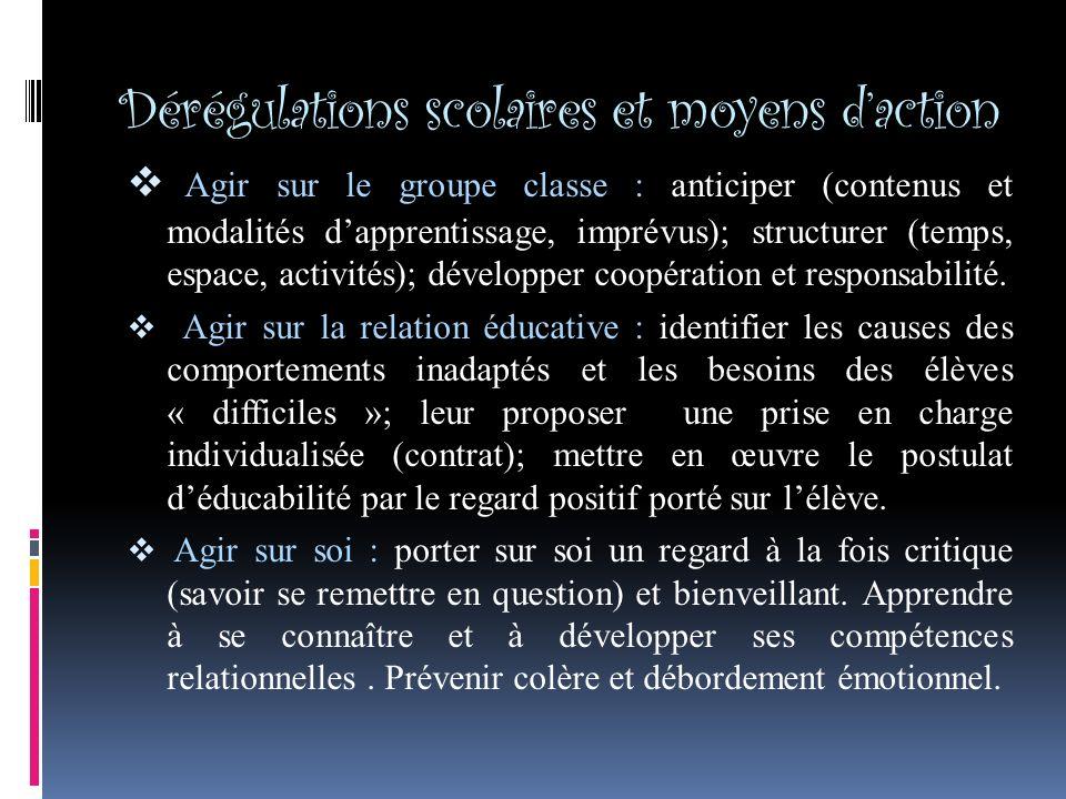 Dérégulations scolaires et moyens d'action