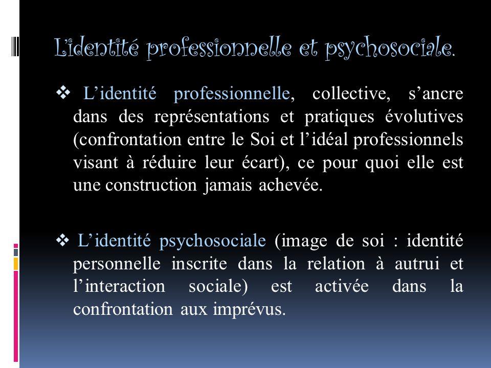L'identité professionnelle et psychosociale.