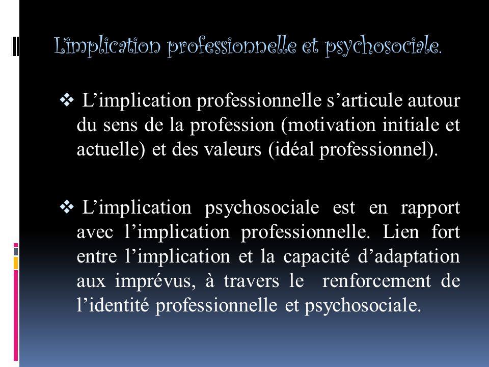 L'implication professionnelle et psychosociale.