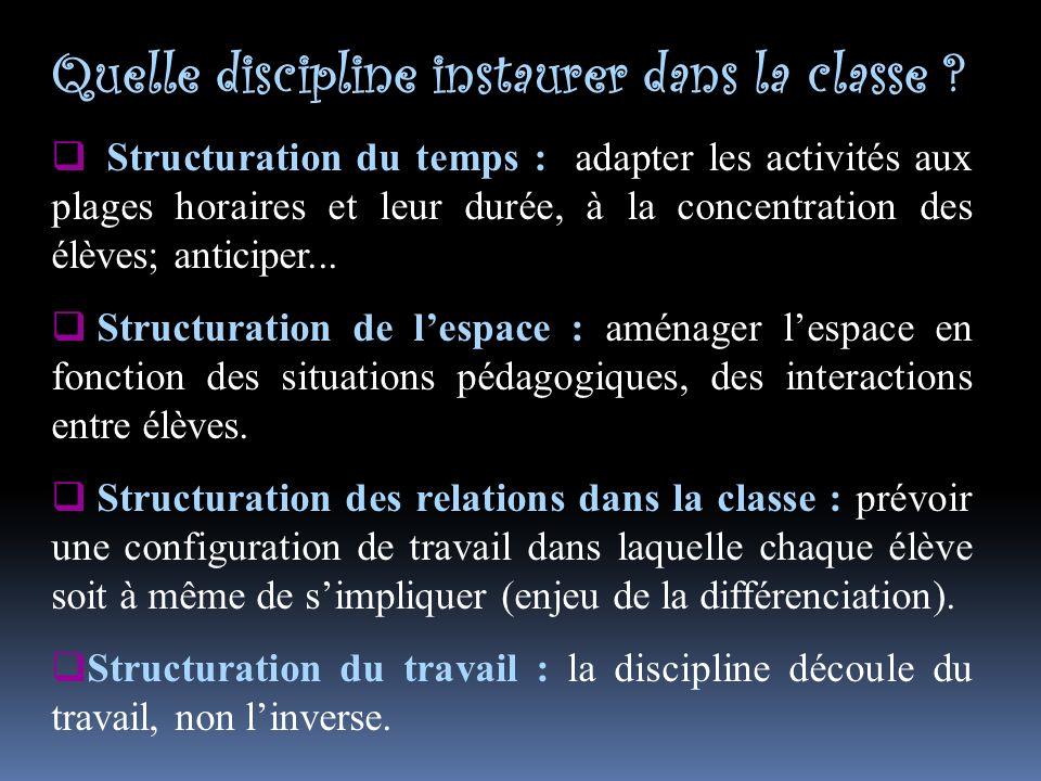 Quelle discipline instaurer dans la classe