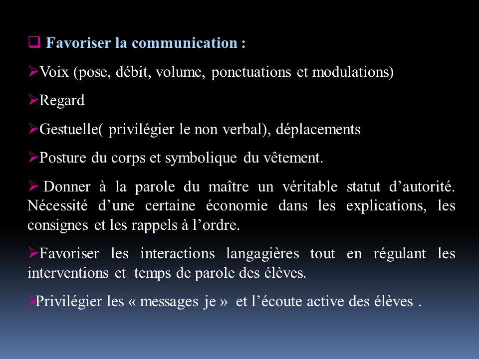 Favoriser la communication :