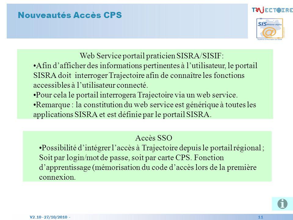 Web Service portail praticien SISRA/SISIF: