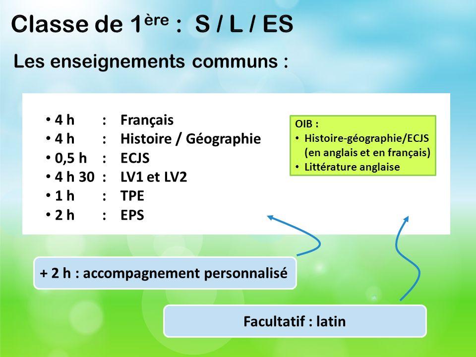 Classe de 1ère : S / L / ES Les enseignements communs : 4 h : Français