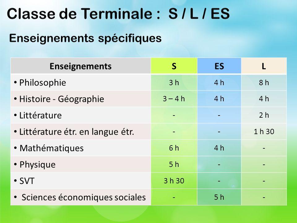 Classe de Terminale : S / L / ES