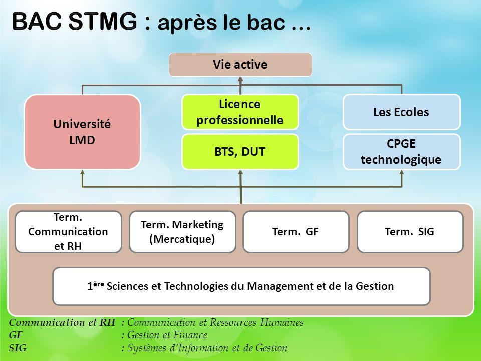 BAC STMG : après le bac … Vie active Licence professionnelle