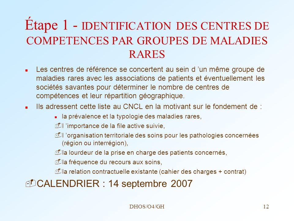 Étape 1 - IDENTIFICATION DES CENTRES DE COMPETENCES PAR GROUPES DE MALADIES RARES