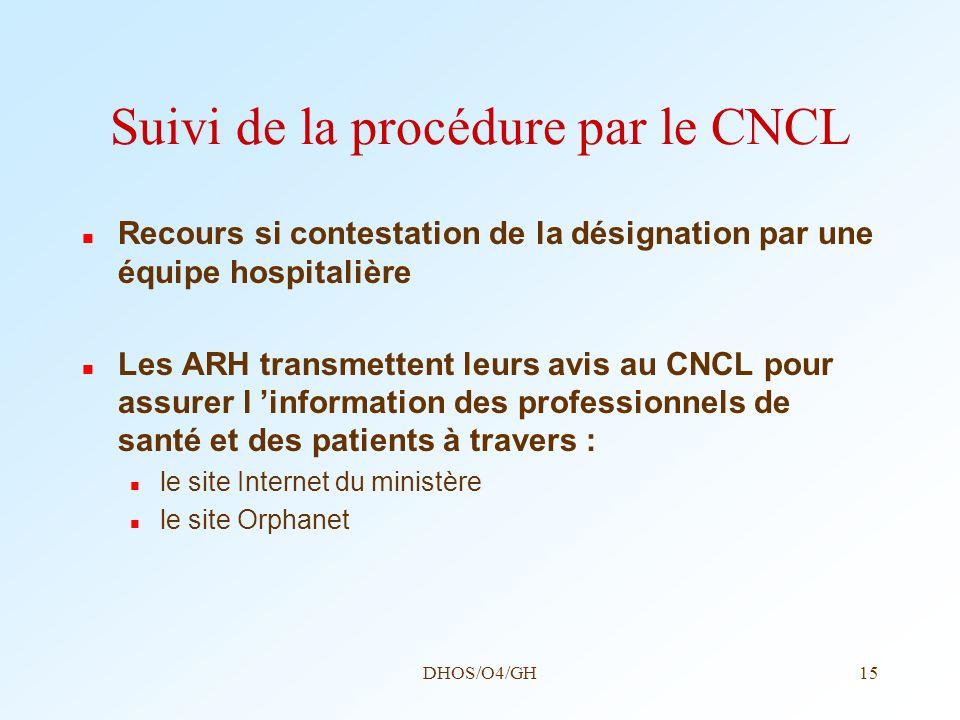 Suivi de la procédure par le CNCL