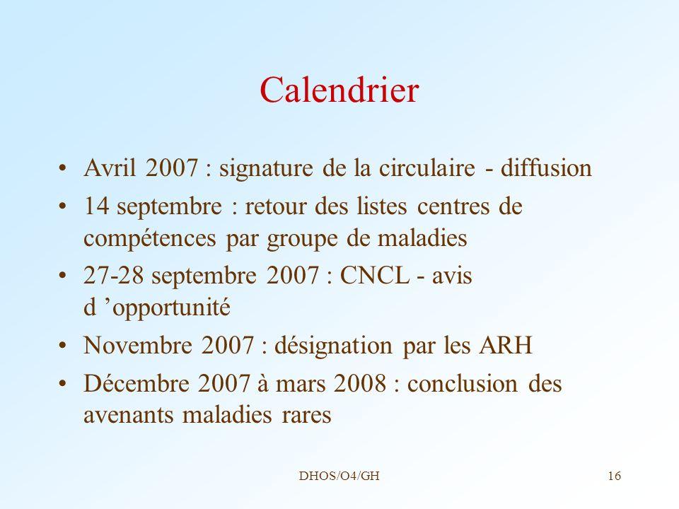 Calendrier Avril 2007 : signature de la circulaire - diffusion