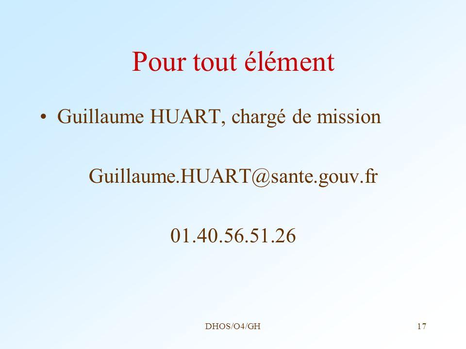 Pour tout élément Guillaume HUART, chargé de mission