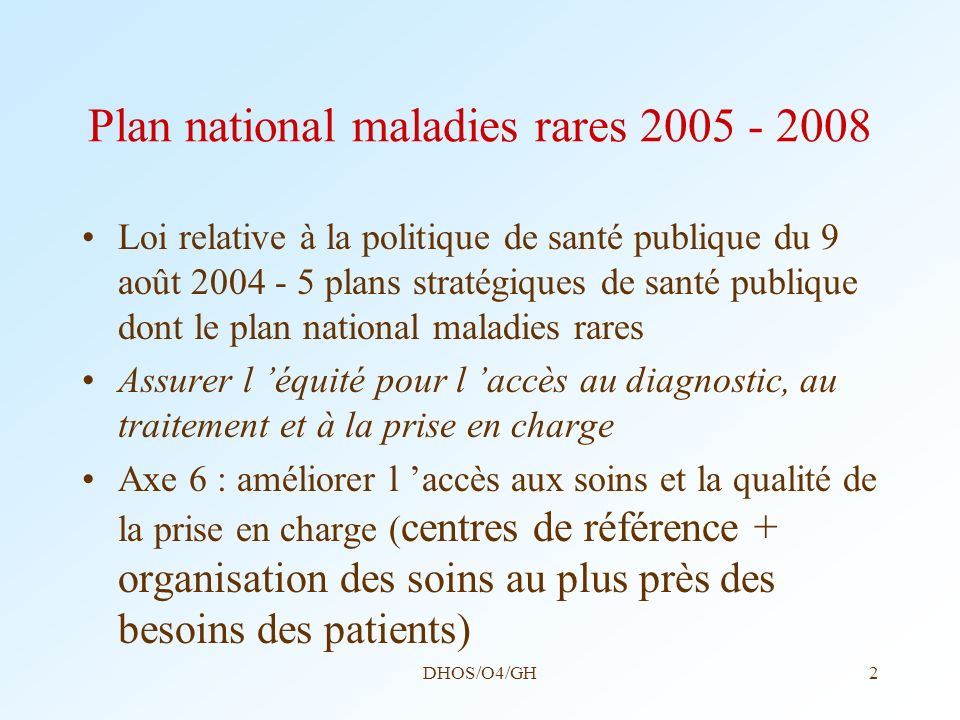 Plan national maladies rares 2005 - 2008
