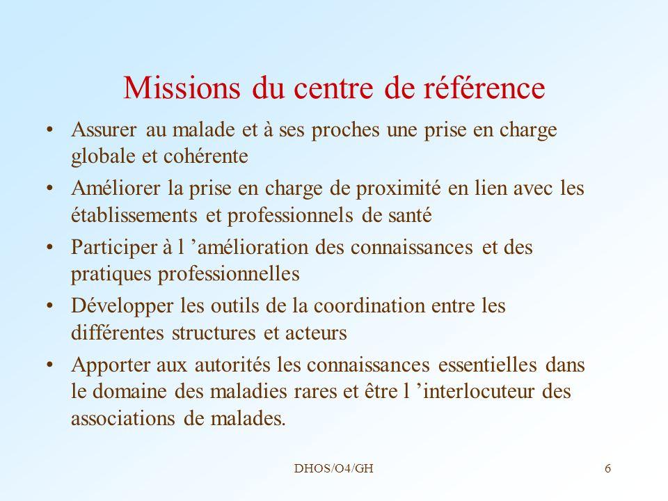 Missions du centre de référence