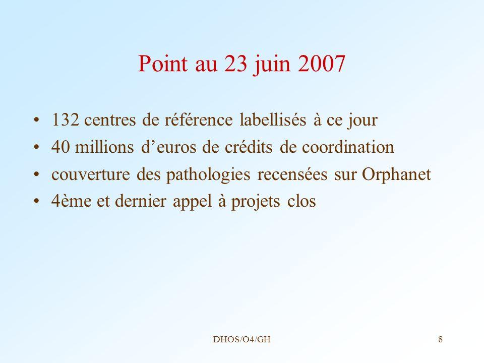 Point au 23 juin 2007 132 centres de référence labellisés à ce jour
