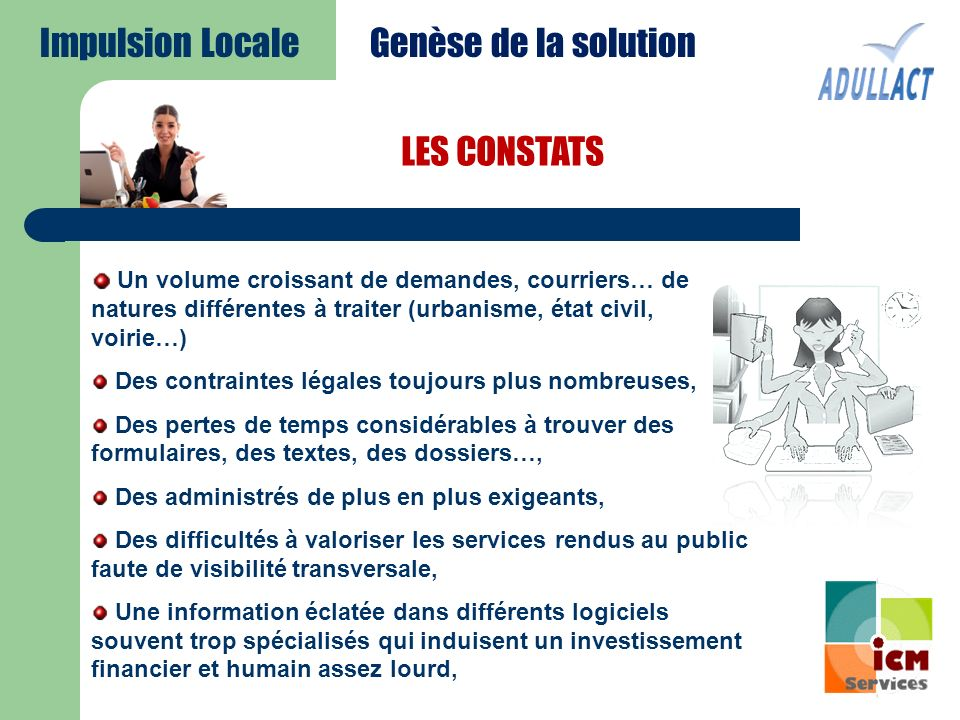 Impulsion Locale Genèse de la solution LES CONSTATS