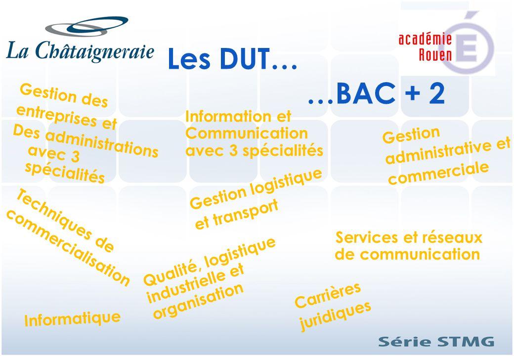 Les DUT… …BAC + 2 Gestion des entreprises et