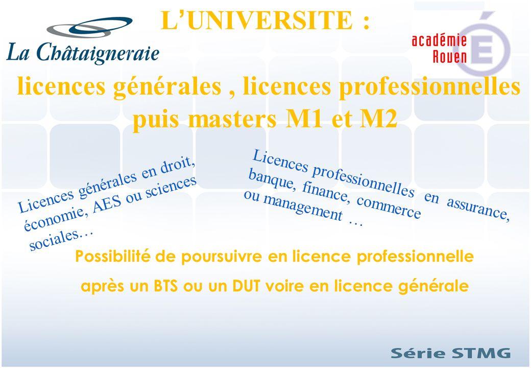 licences générales , licences professionnelles puis masters M1 et M2