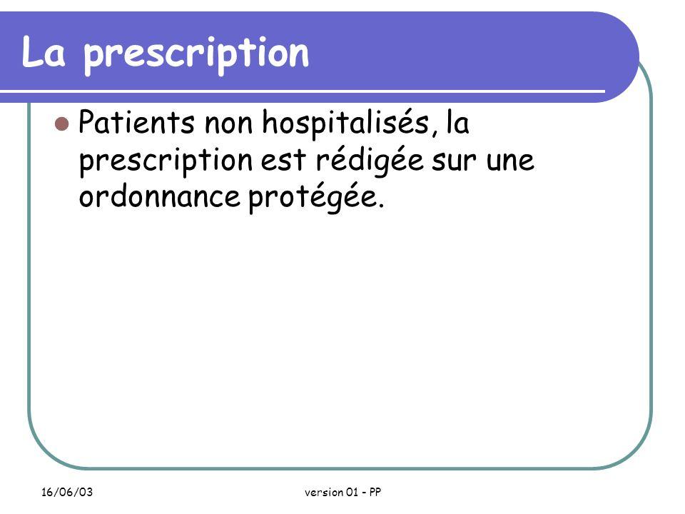 La prescription Patients non hospitalisés, la prescription est rédigée sur une ordonnance protégée.