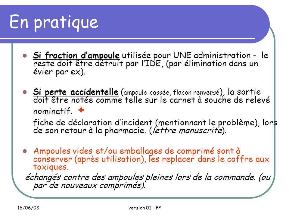 En pratique Si fraction d'ampoule utilisée pour UNE administration - le reste doit être détruit par l'IDE, (par élimination dans un évier par ex).