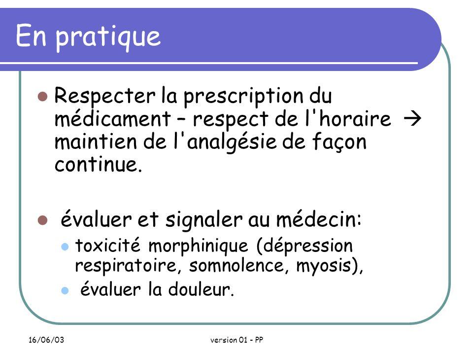 En pratique Respecter la prescription du médicament – respect de l horaire  maintien de l analgésie de façon continue.