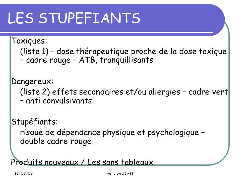 LES STUPEFIANTS Toxiques: