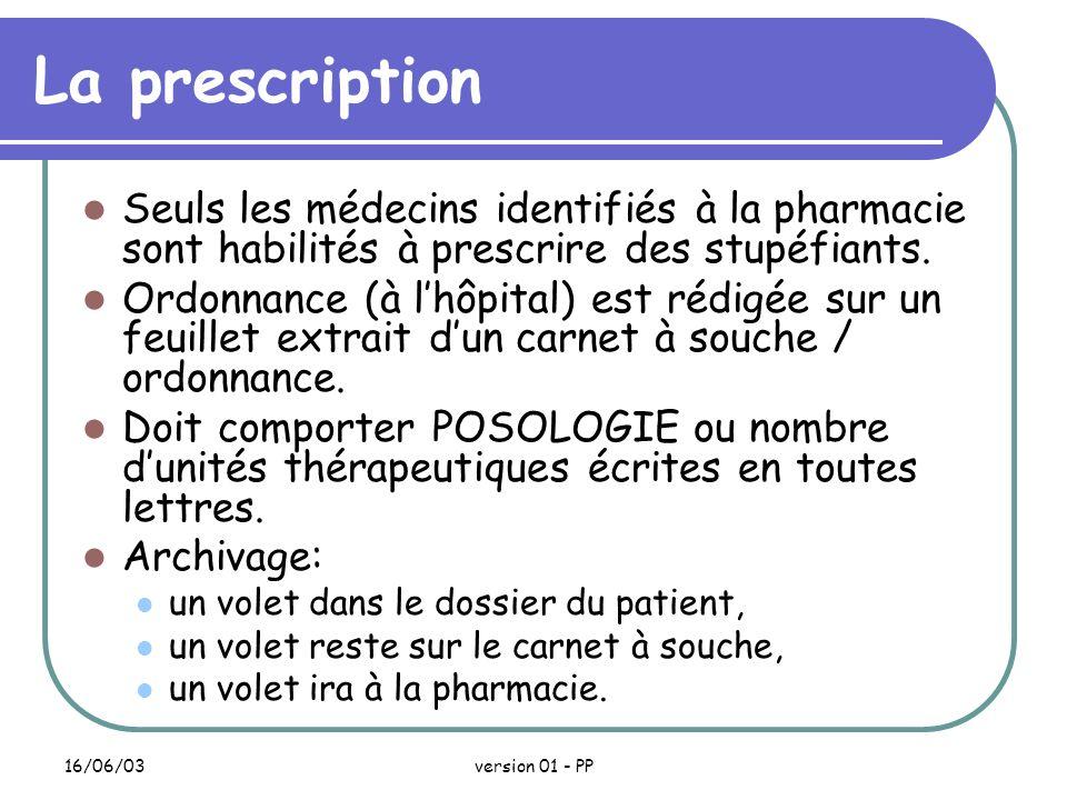 La prescription Seuls les médecins identifiés à la pharmacie sont habilités à prescrire des stupéfiants.