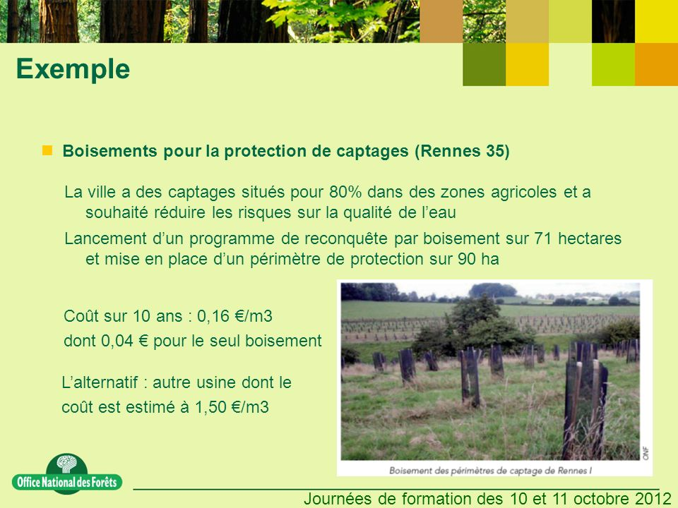 Exemple Boisements pour la protection de captages (Rennes 35)