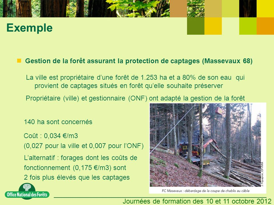 Exemple Gestion de la forêt assurant la protection de captages (Massevaux 68)