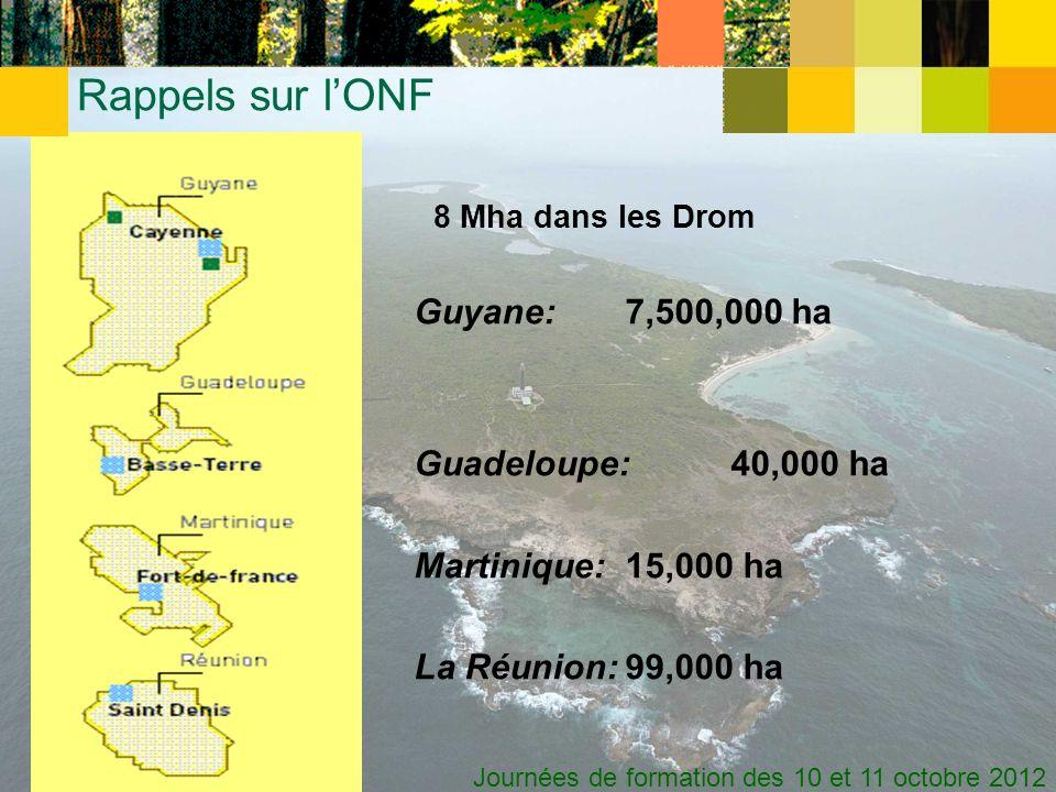 Rappels sur l'ONF Guadeloupe: 40,000 ha Martinique: 15,000 ha