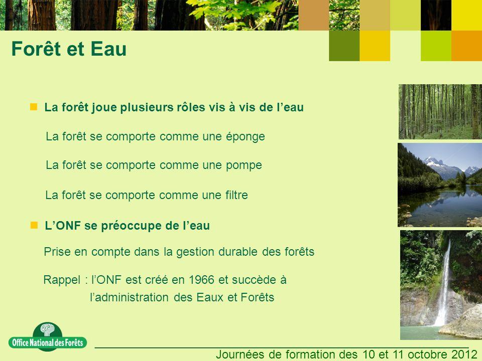 Forêt et Eau La forêt joue plusieurs rôles vis à vis de l'eau