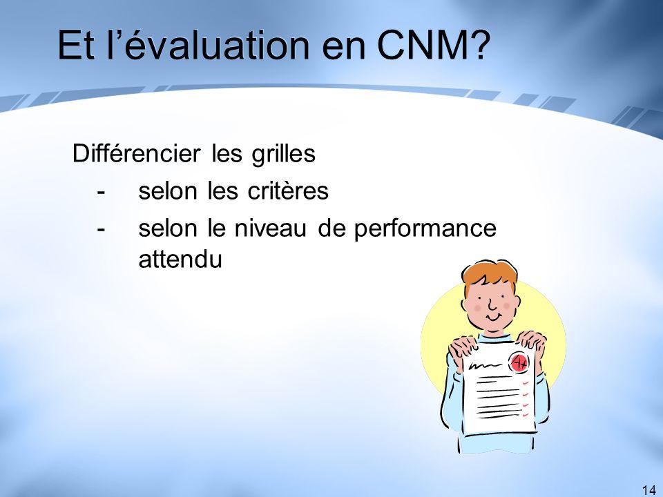Et l'évaluation en CNM Différencier les grilles - selon les critères
