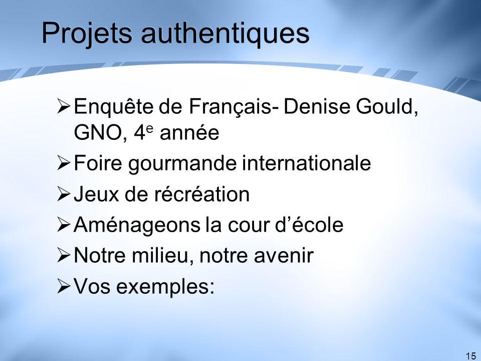 Projets authentiques Enquête de Français- Denise Gould, GNO, 4e année