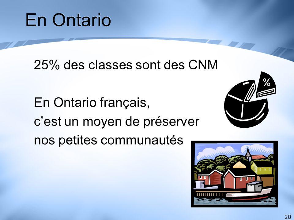En Ontario 25% des classes sont des CNM En Ontario français,