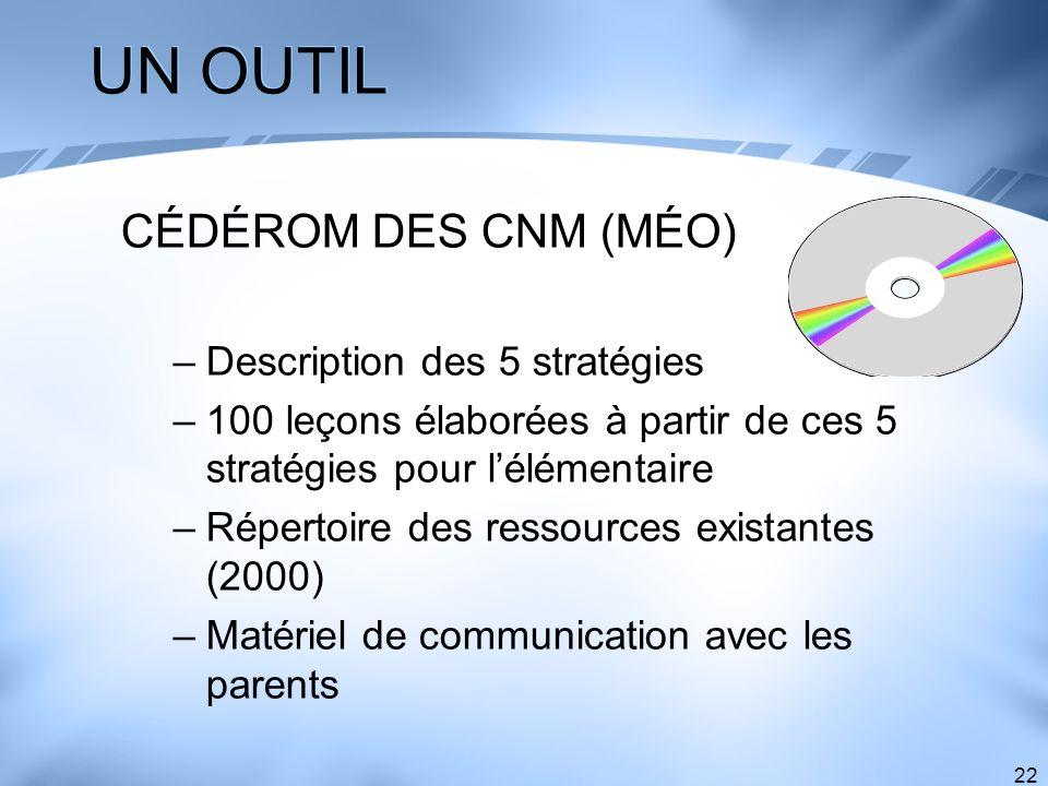 UN OUTIL CÉDÉROM DES CNM (MÉO) Description des 5 stratégies