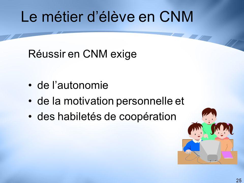 Le métier d'élève en CNM