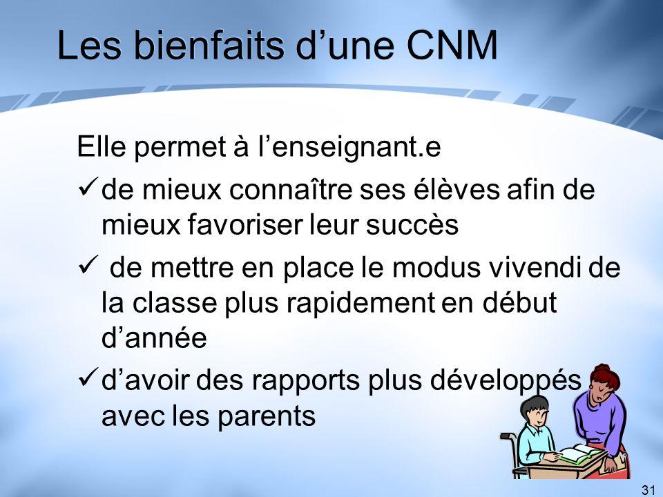 Les bienfaits d'une CNM