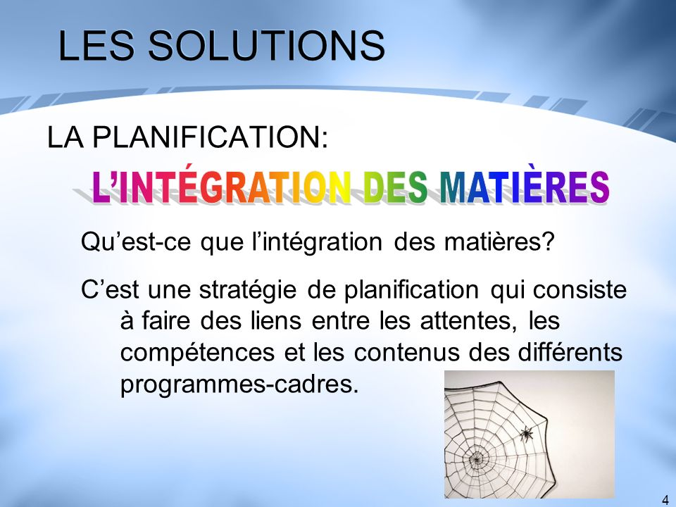 L'INTÉGRATION DES MATIÈRES
