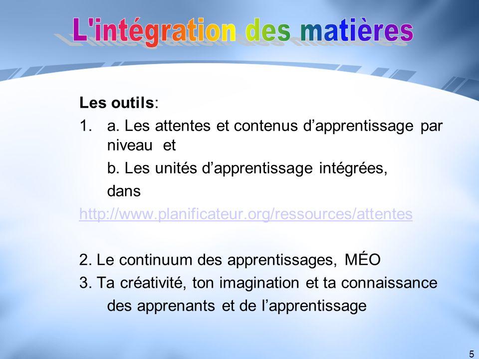 L intégration des matières