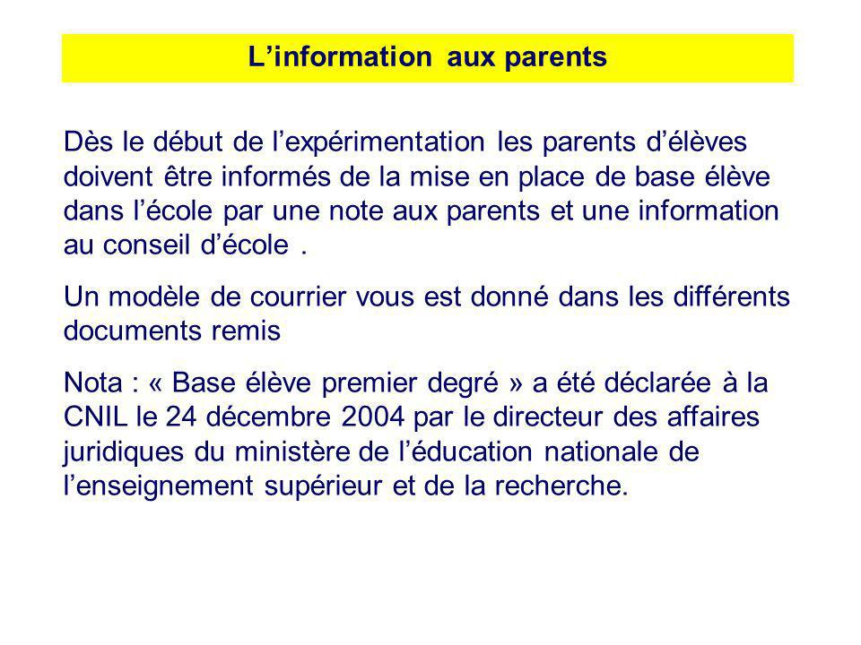 L'information aux parents