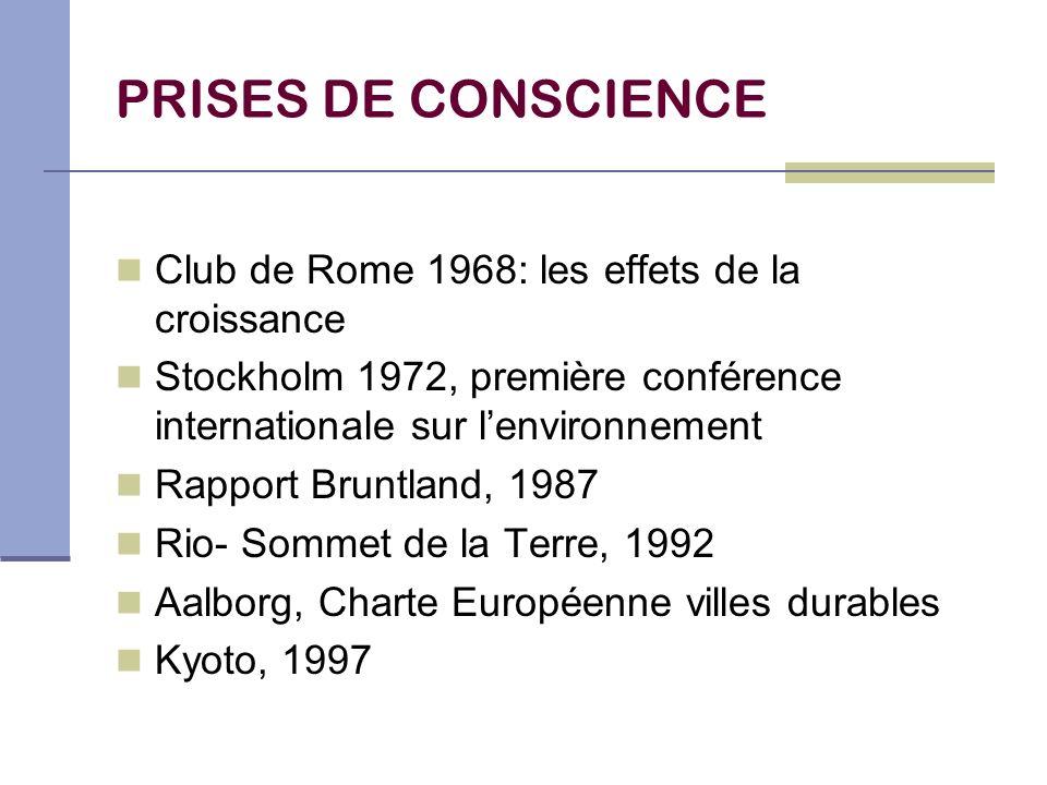 PRISES DE CONSCIENCE Club de Rome 1968: les effets de la croissance