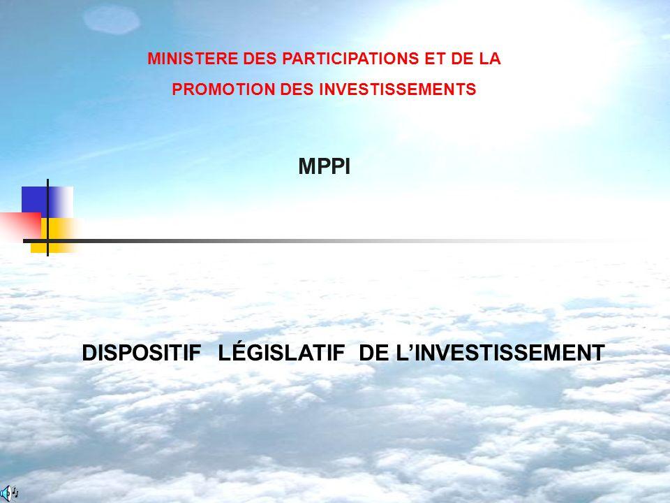 MPPI DISPOSITIF LÉGISLATIF DE L'INVESTISSEMENT