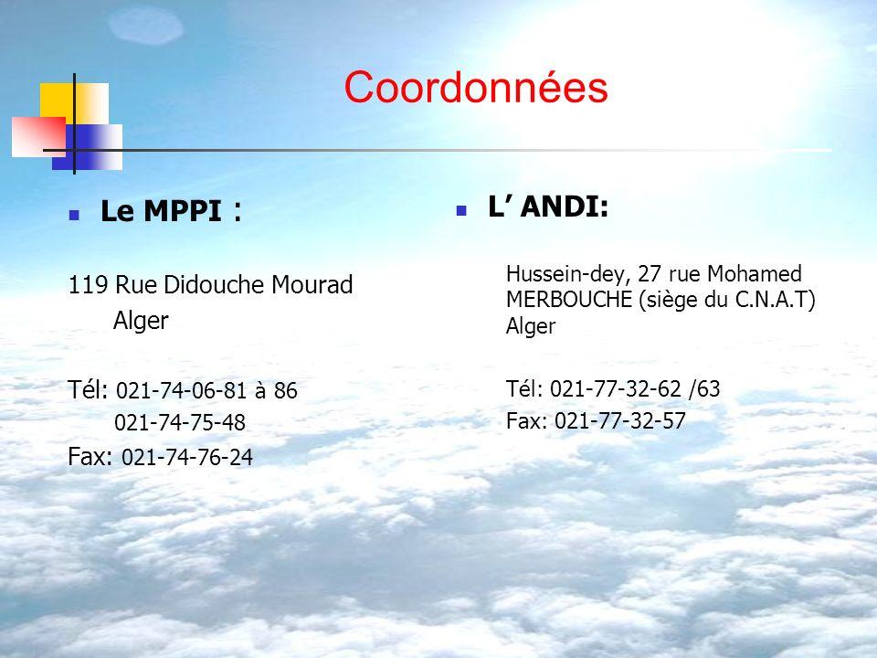 Coordonnées Le MPPI : L' ANDI: 119 Rue Didouche Mourad Alger