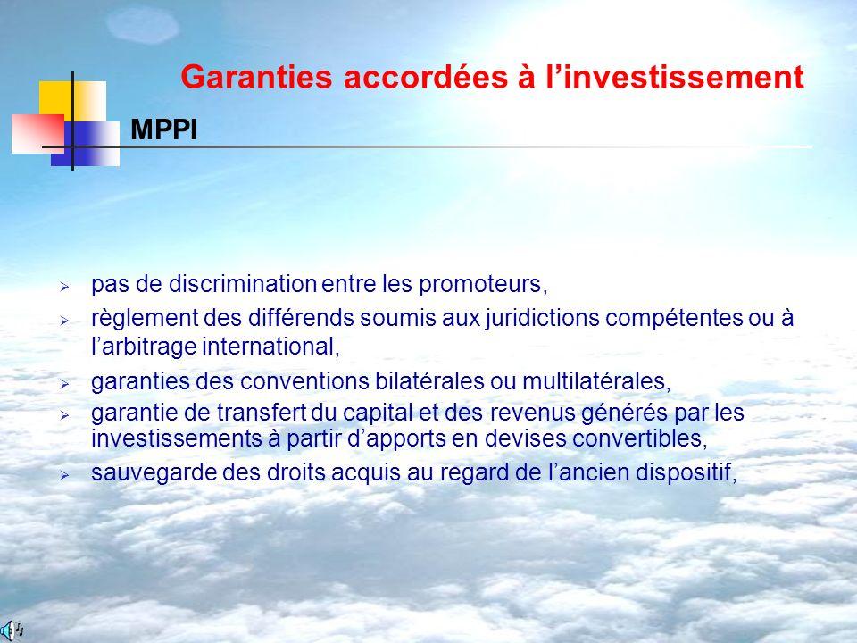 Garanties accordées à l'investissement