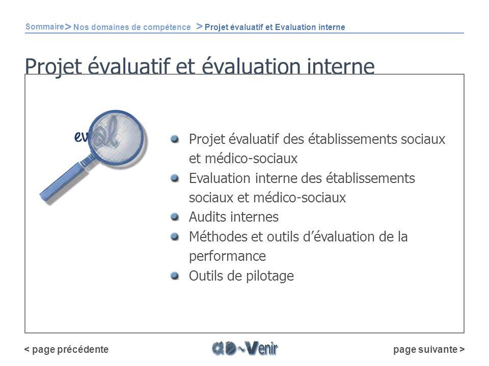 Projet évaluatif et évaluation interne