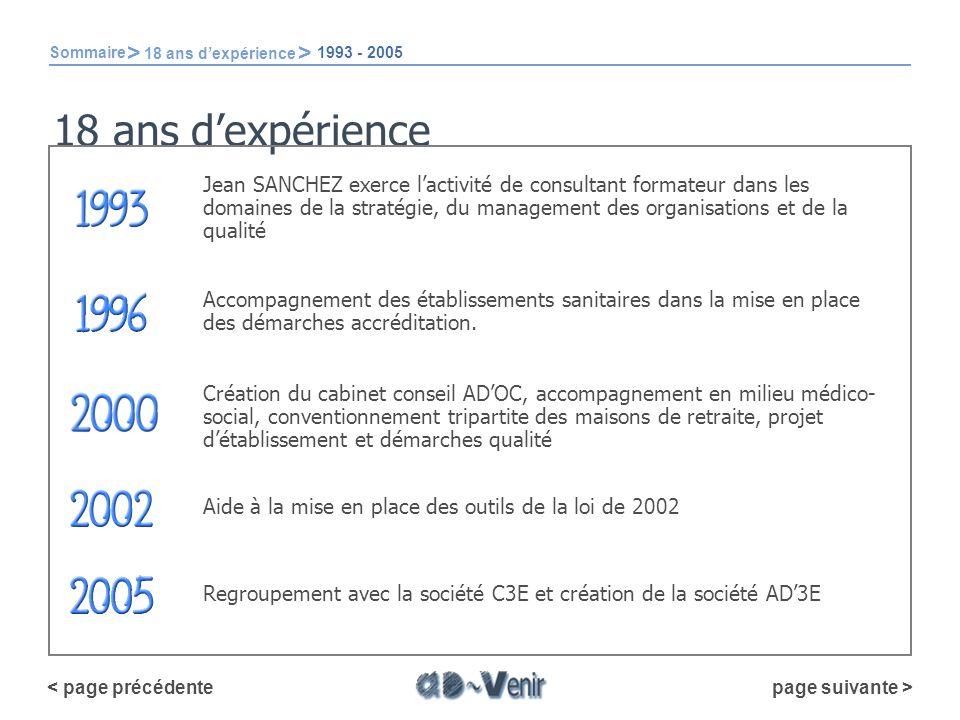 Sommaire > 18 ans d'expérience. 1993 - 2005. 18 ans d'expérience.