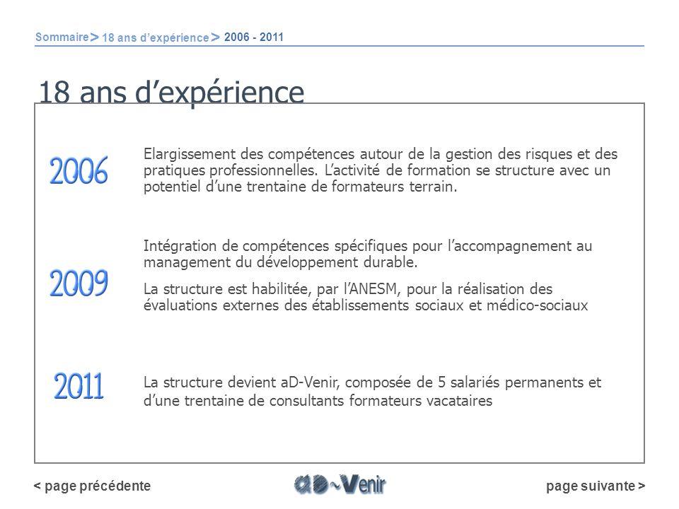 Sommaire > 18 ans d'expérience. 2006 - 2011. 18 ans d'expérience.